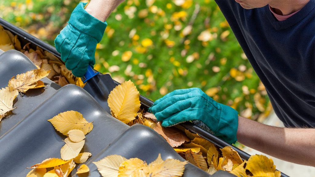 Homeowner cleaning the gutters in the fall
