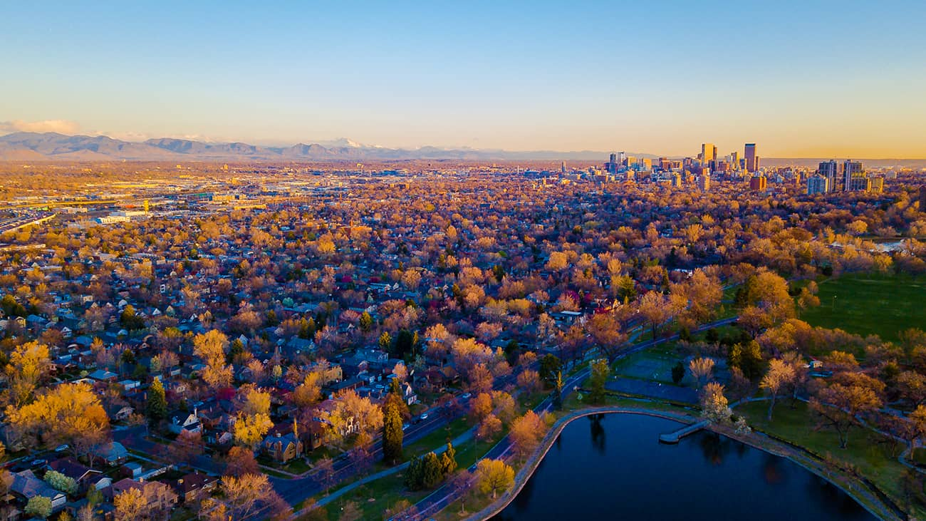 Denver suburb at sunrise
